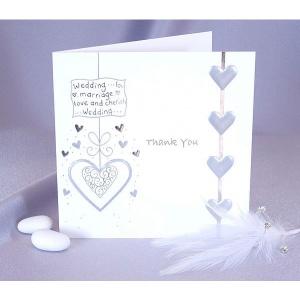 Blanka vikta bröllopstackkort silver - 5 st