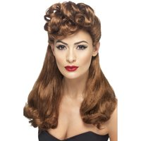 1940-tals Vintage peruk - kastanj