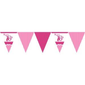 Vimpelbanderoll för 16-årsdagen rosa -3,7m