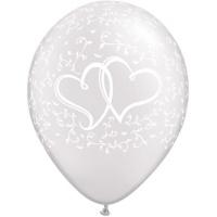 Vita bröllopsballonger med sammanflätade hjärtan - 11 latex - 25 st