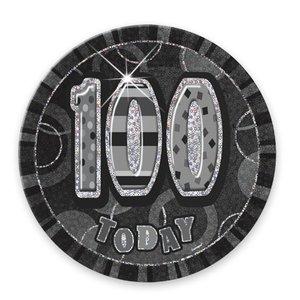 "100-års födelsedagsemblem - svart 6"""