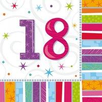 Servetter för 18-årsdagen färgglatt mönster 2-lags - 16 st
