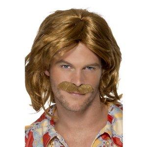 1970-tals Super Trouper peruk och mustasch