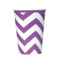 Lila chevron pappersmuggar - 35 cl 6 st