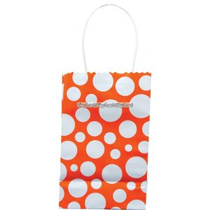 Orange partypåse med prickar - liten