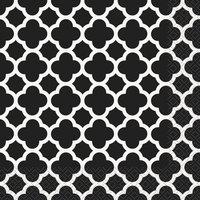 Quatrefoil servetter - Svarta 16 st