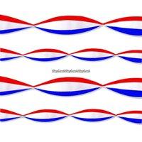 Röd, vit & blå serpentin i kräppapper - 2,7 m