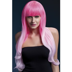 Feber Emily Wig, Long, Lockigt hår, två tonar, rosa
