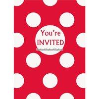 Röda prickiga inbjudningskort - 8 st