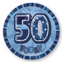 50-års födelsesdagsknapp blå - 15 cm