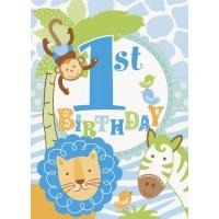 Inbjudningar - 1st birthday blå safari