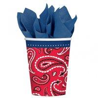 Bandana & Blue Jeans - 266ml partymuggar i papper - 8 st