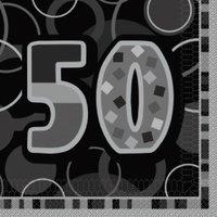 Svarta pappersservetter till 50-årsdagen 3-lagers - 16 st