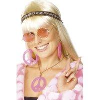 Hippie set hårband glasögon halsband och örhängen