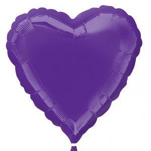 Folieballong - Hjärta Lila 45 cm