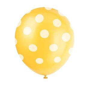 Gula dekorativa ballonger med prickar - 30 cm latex - 6 st