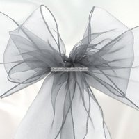Silverfärgad stoldekoration i organza - 6 st