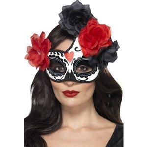 Ögonmask med rosor - Vit/Röd/Svart