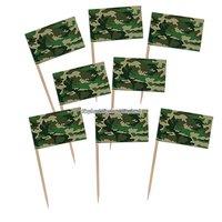 Camouflage flaggor tårtdekoration - 12 st