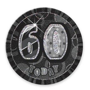 Svart 60-års födelsedagsknapp - 15 cm