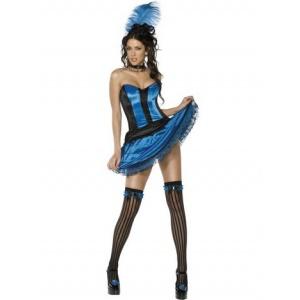 Cancan dansare maskeraddräkt blå 5 delar