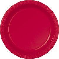 Röda plasttallrikar - 2 varianter