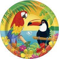 Assietter med papegojor - 18 cm 8 st