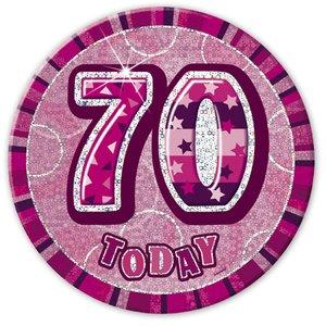 Rosa 70-års födelsesdagsknapp 15 cm