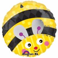 Rund gul folieballong humla - 46 cm