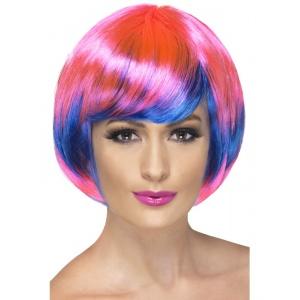 Peruk Funky Babe rosa och blå